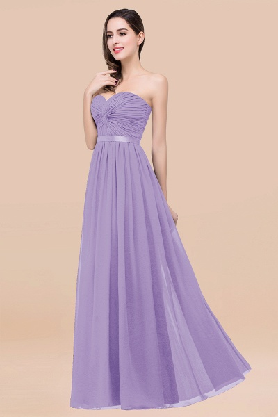 Elegant A-Line Chiffon Sweetheart Sleeveless Floor-Length Bridesmaid Dress with Ribbon_21