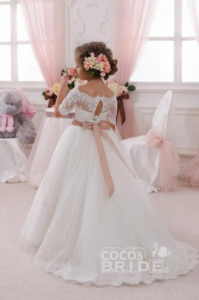 White Off The Shoulder 1/2 Sleeves Ball Gown Flower Girls Dress_4