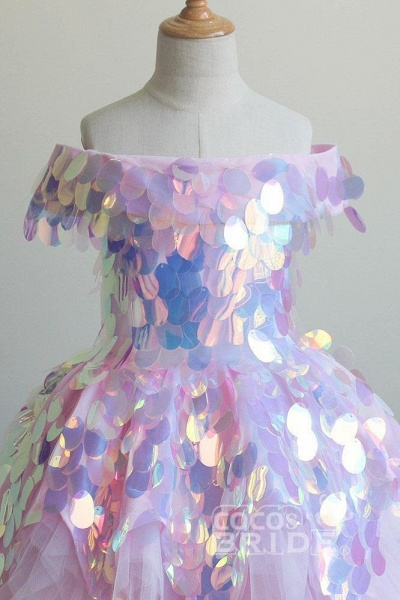 Pink Off-the-shoulder Sequined Asymmetrical Dress_4