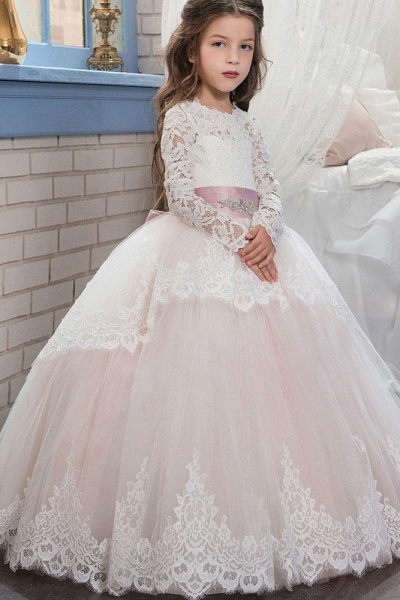 Purple Scoop Neck Long Sleeves Ball Gown Flower Girls Dress
