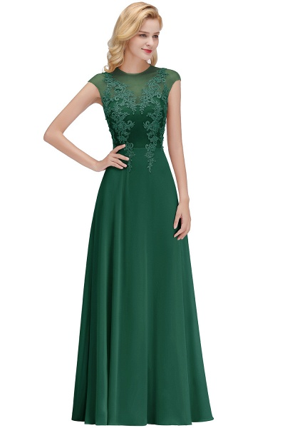 Lace Appliques Beads Cap Sleeve A-line Evening Prom Dress_4
