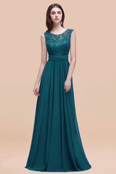 Elegant A-line Chiffon Lace Scoop Sleeveless Floor-Length Bridesmaid Dress_27