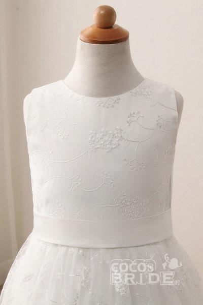 White Scoop Neck Short Sleeveless Ball Gown Flower Girls Dress_4