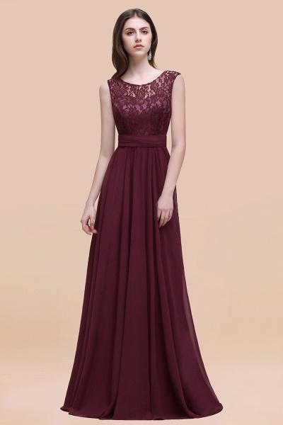 Elegant A-line Chiffon Lace Scoop Sleeveless Floor-Length Bridesmaid Dress_47