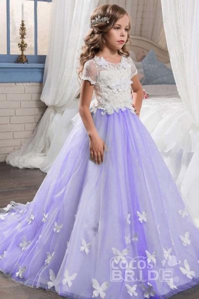 Pink Scoop Neck Short Sleeves Ball Gown Flower Girls Dress_6