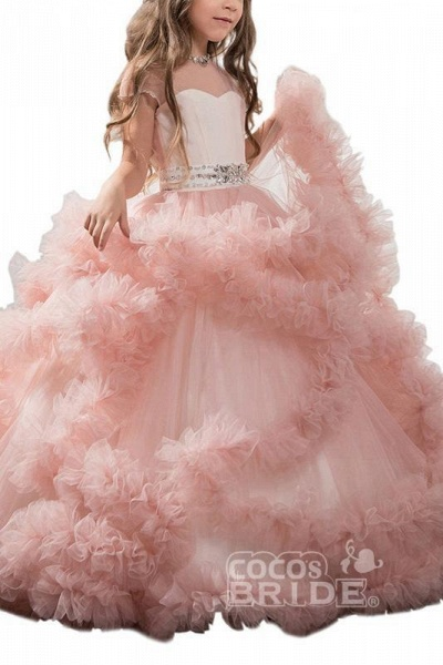 Violet Scoop Neck Short Sleeves Ball Gown Flower Girls Dress_5