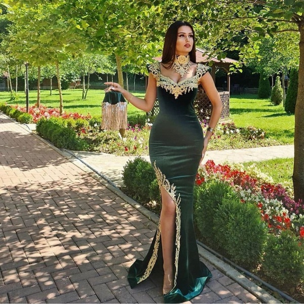 Long Mermaid Dark Green Evening Dresses with Gold Lace appliques_2