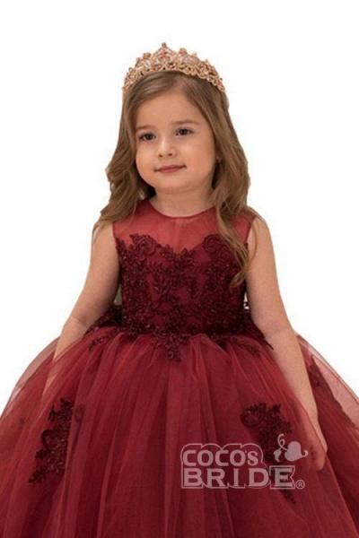 Burgundy Scoop Neck Sleeveless Ball Gown Flower Girls Dress_2