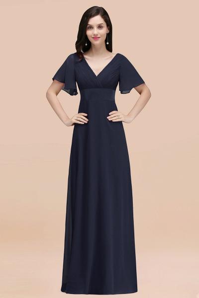 Simple A-Line Chiffon V-Neck Short-Sleeves Ruffles Floor-Length Bridesmaid Dresses_28