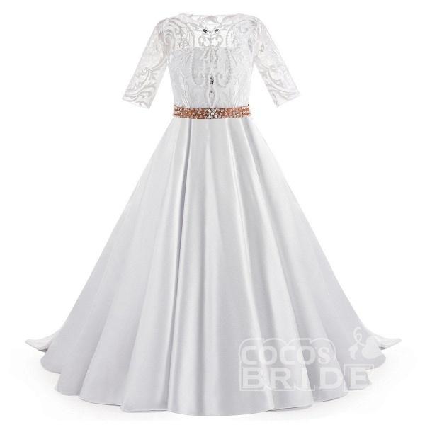 White Scoop Neck 1/2 Sleeves Trumpet Flower Girls Dress_4