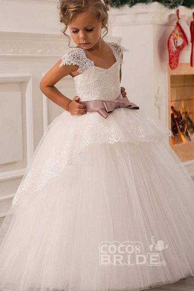 White Square Neck Cap Sleeves Ball Gown Flower Girls Dress_2
