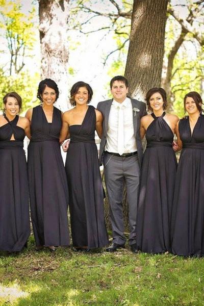 Simple Convertible Long Black Bridesmaid Dresses | Multiway Infinity Dress