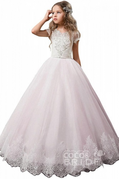 Light Pink Scoop Neck Short Sleeve Ball Gown Flower Girls Dress_8