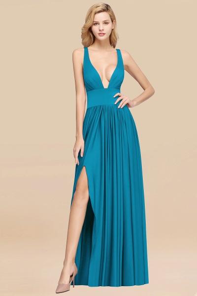 BM0141 A-Line V-Neck Sleeveless Long Ruffles Bridesmaid Dress_22