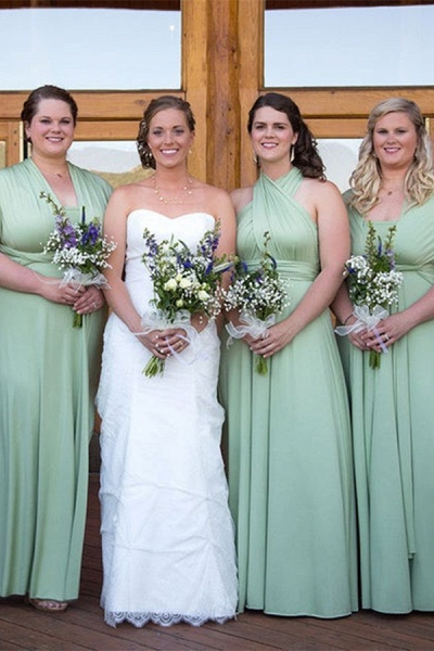 Convertible Long A-line Dusty Pink Bridesmaid Dresses | Multiway Infinity Dress_2