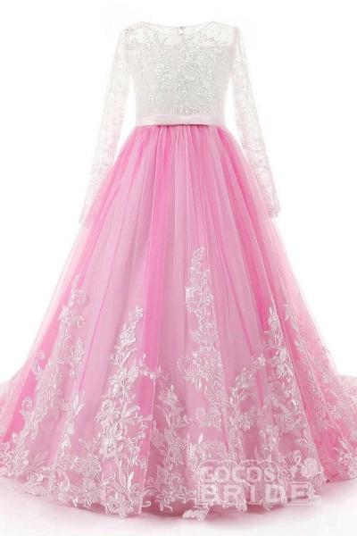 Scoop Neck Long Sleeves Ball Gown Flower Girls Dress_4
