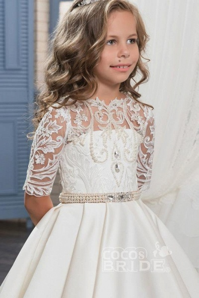 White Scoop Neck 1/2 Sleeves Trumpet Flower Girls Dress_3
