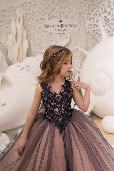 V-Neck Sleeveless Ball Gown Flower Girls Dress_1