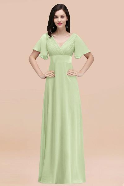 Simple A-Line Chiffon V-Neck Short-Sleeves Ruffles Floor-Length Bridesmaid Dresses_35