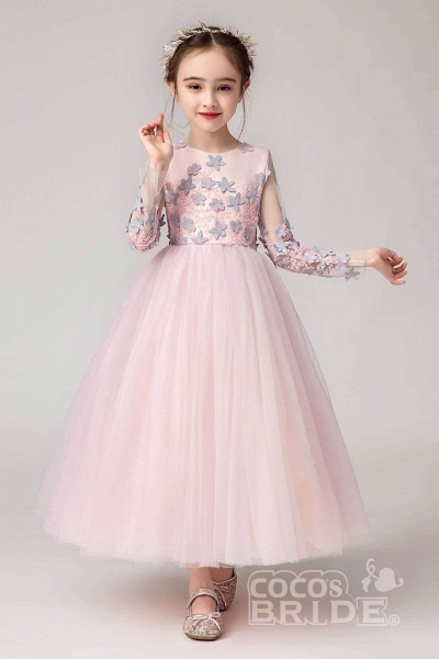 Pink Scoop Neck Long Sleeves Ball Gown Flower Girls Dress_2