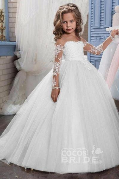White Scoop Neck Long Sleeves Ball Gown Flower Girls Dress_12