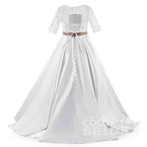 White Scoop Neck 1/2 Sleeves Trumpet Flower Girls Dress_5