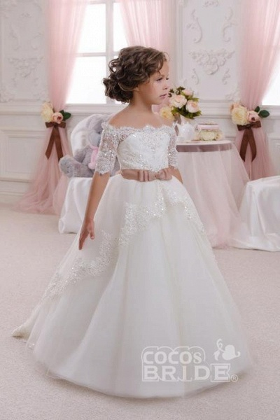 White Off The Shoulder 1/2 Sleeves Ball Gown Flower Girls Dress_3