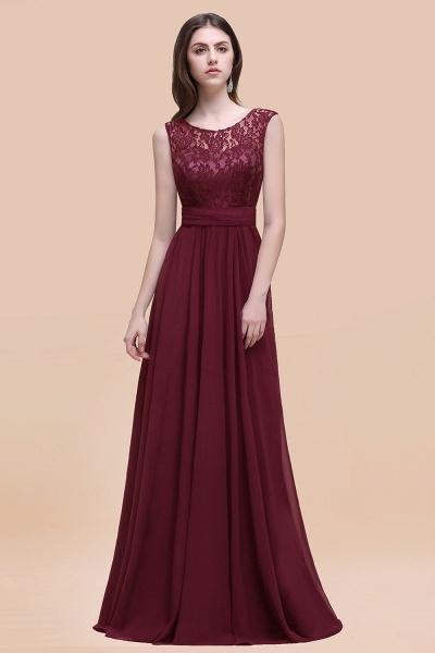 Elegant A-line Chiffon Lace Scoop Sleeveless Floor-Length Bridesmaid Dress_10
