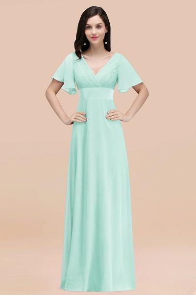 Simple A-Line Chiffon V-Neck Short-Sleeves Ruffles Floor-Length Bridesmaid Dresses_36