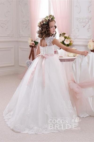 White Scoop Neck Short Sleeves Ball Gown Flower Girls Dress_2