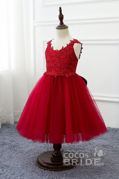 Red V-Neck Sleeveless Ball Gown Short Dress_4