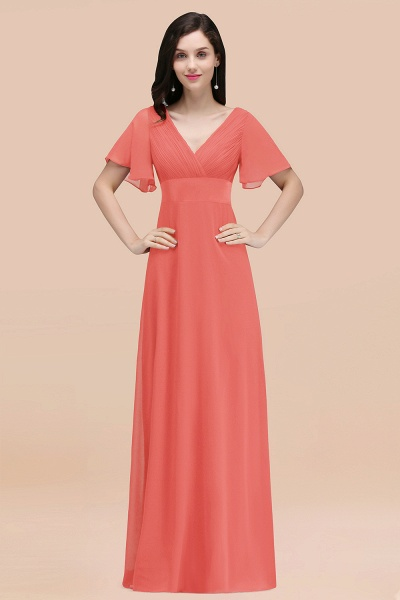 Simple A-Line Chiffon V-Neck Short-Sleeves Ruffles Floor-Length Bridesmaid Dresses_7
