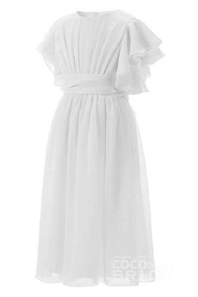 White Scoop Neck Short Sleeves Dress Flower Girls Dress_3