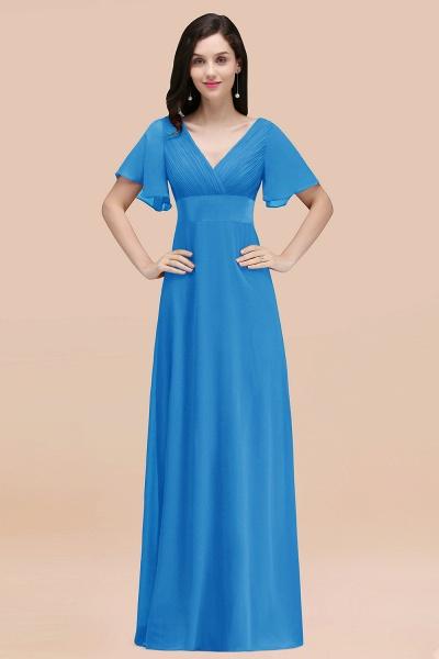 Simple A-Line Chiffon V-Neck Short-Sleeves Ruffles Floor-Length Bridesmaid Dresses_25
