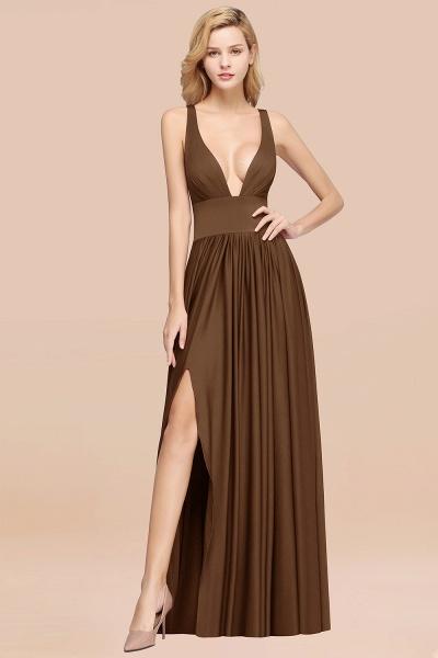 BM0141 A-Line V-Neck Sleeveless Long Ruffles Bridesmaid Dress_11