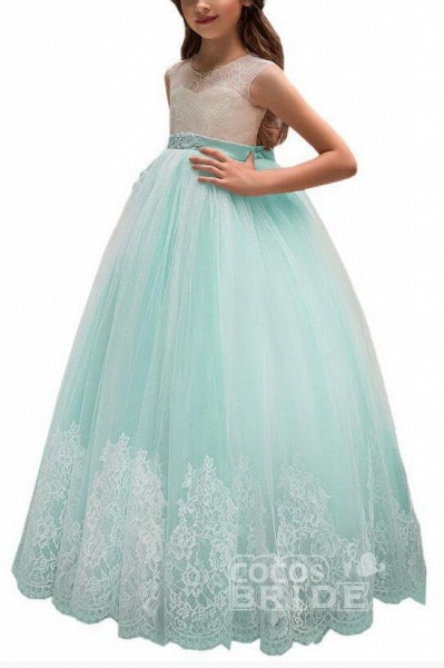 Pink Scoop Neck Sleeveless Ball Gown Flower Girls Dress_8