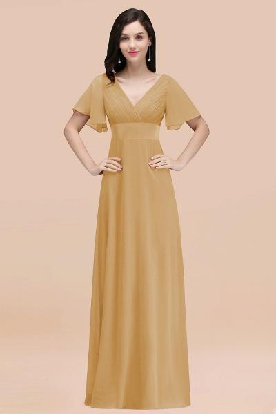 Simple A-Line Chiffon V-Neck Short-Sleeves Ruffles Floor-Length Bridesmaid Dresses_13