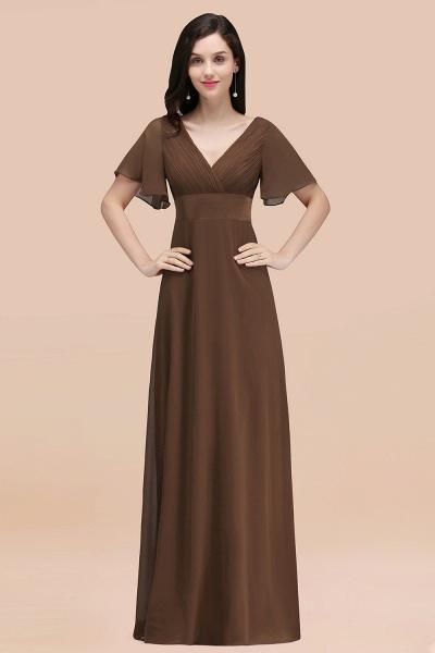 Simple A-Line Chiffon V-Neck Short-Sleeves Ruffles Floor-Length Bridesmaid Dresses_12