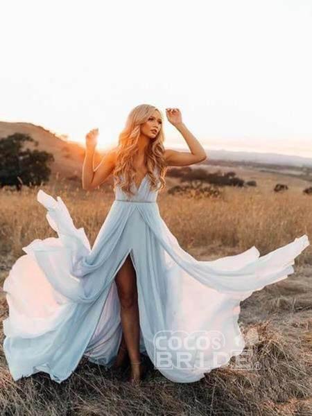 A-line Ruffles Sky Blue Rustic Wedding Dresses Beach Wedding Gown_10
