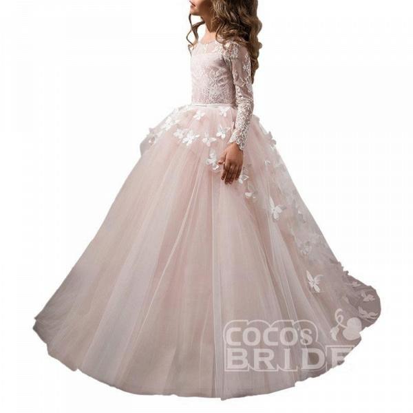 White Scoop Neck Long Sleeves Ball Gown Flower Girls Dress_5