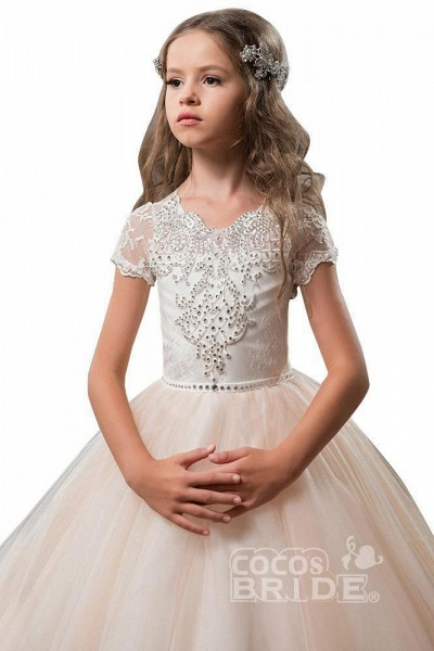 Light Pink Scoop Neck Short Sleeve Ball Gown Flower Girls Dress_4