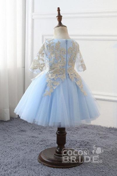 Light Blue Scoop Neck 1/2 Sleeves Ball Gown Flower Girls Dress_4