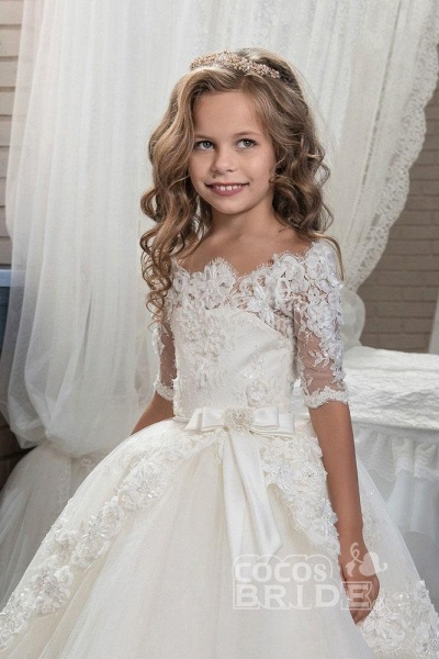 White Off The Shoulder 1/2 Sleeves Ball Gown Flower Girls Dress_5