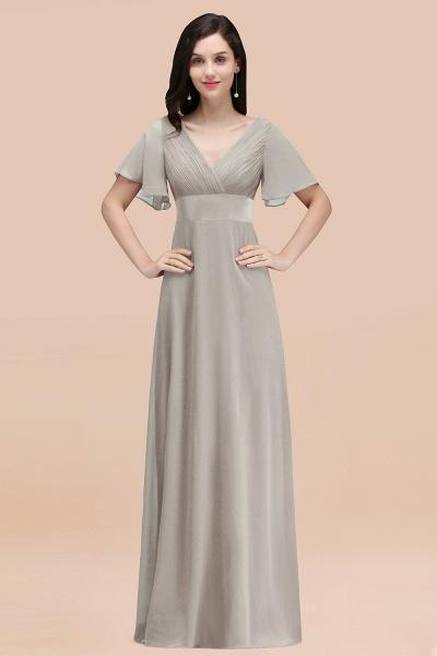 Simple A-Line Chiffon V-Neck Short-Sleeves Ruffles Floor-Length Bridesmaid Dresses_30