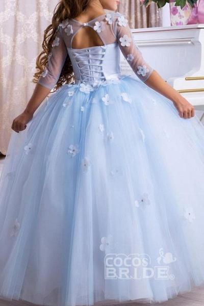 Light Blue Scoop Neck 3/4 Sleeves Ball Gown Flower Girls Dress_3