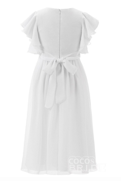 White Scoop Neck Short Sleeves Dress Flower Girls Dress_2