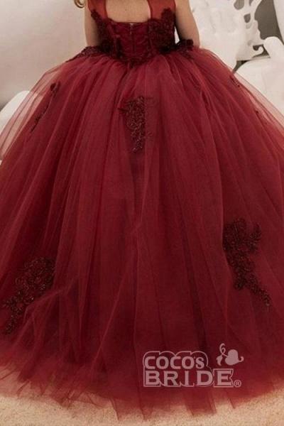 Burgundy Scoop Neck Sleeveless Ball Gown Flower Girls Dress_4