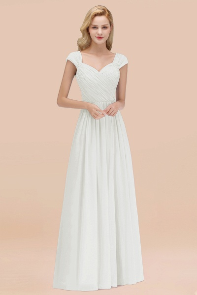 A-Line Chiffon Straps Sweetheart Sleeveless Floor-Length Bridesmaid Dress with Ruffles_2