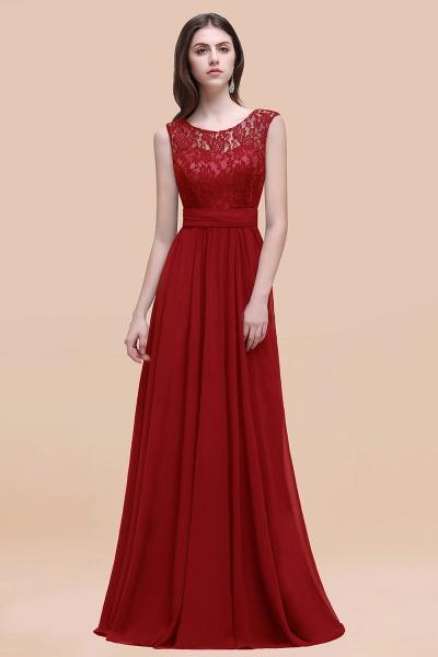 Elegant A-line Chiffon Lace Scoop Sleeveless Floor-Length Bridesmaid Dress_48