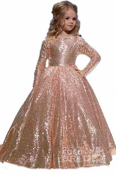 Golden Scoop Neck Long Sleeves Princess Dress_5